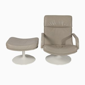 F156 Beige Leather Easy Chair with Ottoman by Geoffrey Harcourt for Artifort, 1963