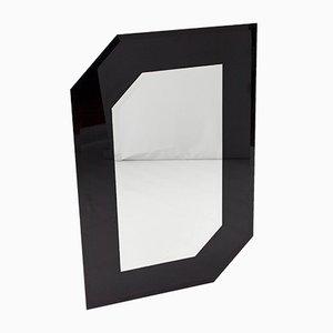 Asymmetrischer schwarzer Wandspiegel aus Klarglas, 1980er