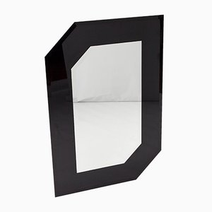 Black & Transparent Glass Asymmetric Wall Mirror, 1980s