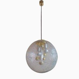 Lampada a sospensione Sputnik in vetro e cromata di Doria Leuchten, anni '70