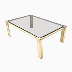 Brass Coffee Table with a Smoked Glass Top, 1970s