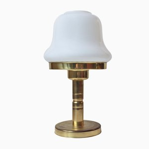 Lampe de Bureau Mid-Century en Verre Opalin en Laiton par ABO, 1970s