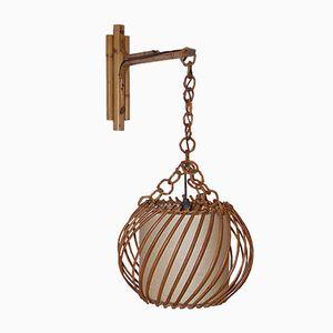 Mid-Century Rattan Wandlampe