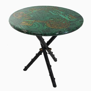 Italian Malachite Side Table with Key Pattern by Piero Fornasetti, 1950s