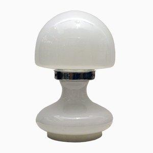 Murano Tischlampe aus Geblasenem Lattimo Glas mit Elementen aus Chrom von Vistosi, 1970er