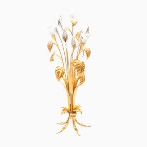 Lámpara de pie floral dorada de Hans Kögl, años 70