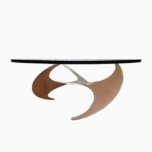 Tavolino da caffè vintage con base a forma di elica di Knut Hesterberg per Roland Schmitt