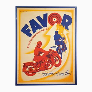 Favor Lithographie Poster by Lionel Matthey for Etablissements Delattre, 1930s