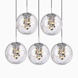 Lampade a sospensione grandi con sfera in vetro soffiato a mano e con bolle di Doria, anni '70, set di 4