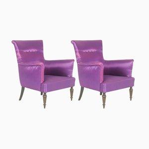 Italienische Sessel in Lila, 1950er, 2er Set
