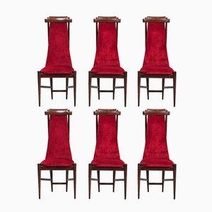 Sedie da pranzo con schienale alto, set di 6