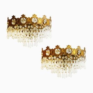Vintage Three-Tiered Half Crown Wall Lights, Set of 2