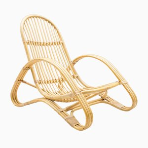 Bamboo and Rattan Lounge Chair, 1970s