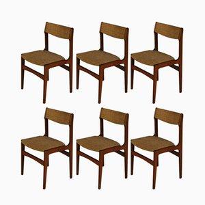 Esszimmerstühle aus Teak & Stoff von Erik Buch, 1960er, 6er Set