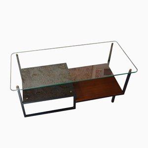 Mid-Century Couchtisch aus Glas & Teak von Georges Frydman für EFA