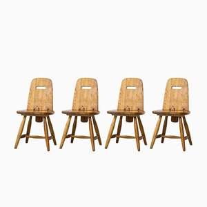 Pirtti Pine Dining Chairs by Eero Aarnio for Laukaan Puu, 1960s, Set of 4