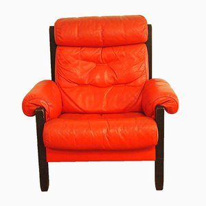 Vintage Red Leather Armchair from de Sede