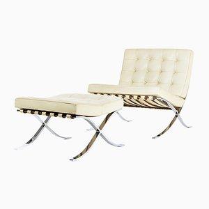 Vintage Barcelona Sessel und Ottomane von Ludwig Mies van der Rohe für Knoll