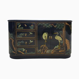 Chinoiserie Painted Cabinet with Floral and Bird Decor, 1960s