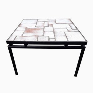 Mid-Century White and Beige Ceramic Coffee Table on Painted Metal Base, 1960s