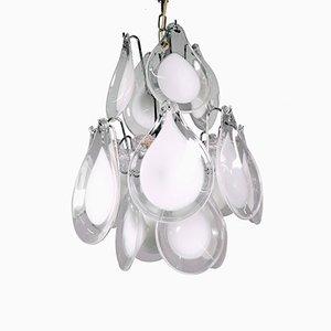 Lámpara de araña con pétalos de cristal de Murano de Gino Vistosi para Venini, años 60