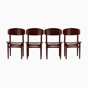 Danish Dining Chairs Model 122 by Børge Mogensen for Søborg Møbler, 1960s, Set of 4