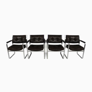 Mid-Century Leather and Aluminum Mondo Armchairs by Karl-Erik Ekselius for JOC Vetlanda, Set of 4