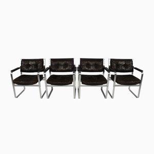 Mid-Century Mondo Sessel aus Aluminium & Leder von Karl-Erik Ekselius für JOC Vetlanda, 4er Set