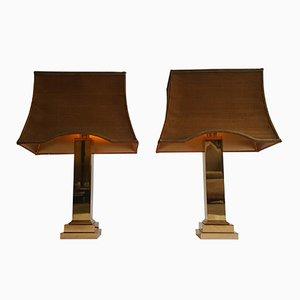 Lámparas de mesa vintage de metal dorado y latón de Gaetano Sciolari para Boulanger. Juego de 2