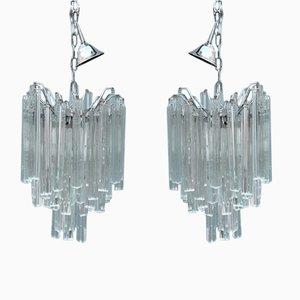 Murano Glas Kronleuchter von Venini, 1960er, 2er Set