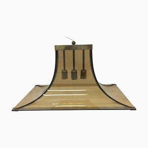 Lámpara colgante italiana Mid-Century de vidrio y latón de Max Ingrand para Fontana Arte, años 50