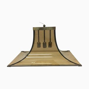Mid-Century Brass and Glass Italian Pendant by Max Ingrand for Fontana Arte, 1950s