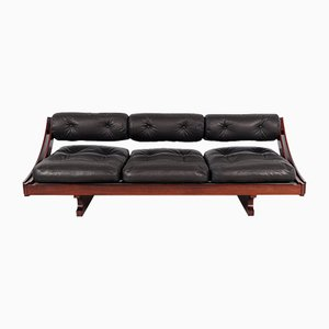 Dormeuse o divano vintage in palissandro e pelle nera di Gianni Songia per Luigi Sormani