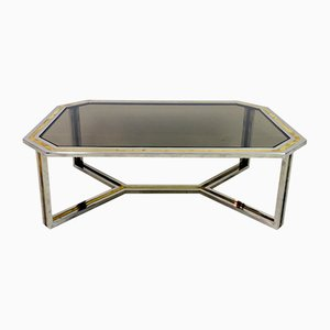 Table Basse en Chrome et Laiton par Romeo Rega, 1970s