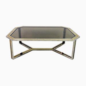 Tavolino da caffè in ottone e placcato in cromo di Romeo rega, anni '70