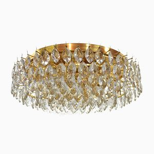 Austrian Gilded Brass & Faceted Crystal Glass Ceiling Light from Lobmeyr, 1970s