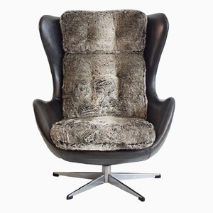 Vintage Danish Black Leather and Faux Fur Swivel Armchair