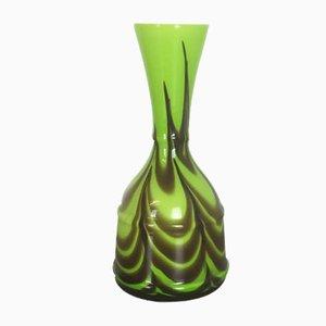 Jarrón italiano de vidrio verde de Opaline Florence, años 70