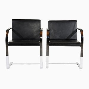 Mid-Century Modern Flatbar Brno Chairs by Mies van der Rohe, 1960s, Set of 2