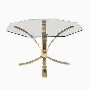 Mesa de centro vintage de latón y cristal ahumado, años 60