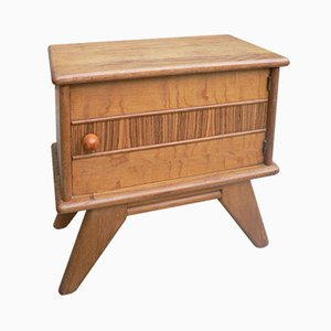 Vintage Wooden Nightstand with Compass Legs, 1950s