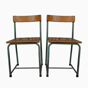 Belgian mid-century industrial / school chairs, set of 2