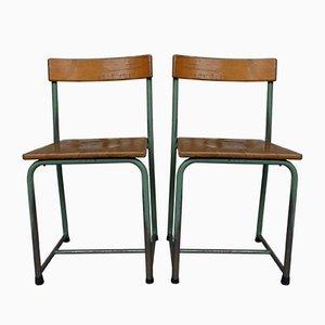 Industrielle Belgischer Mid-Century Schulstühle, 2er Set