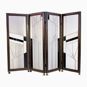 Vintage Raumteiler aus Holz und Bleiglas von Poliarte