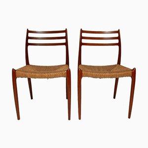 Mid-Century Modell 78 Esszimmerstühle von Niels O. Moller für J.L. Mollers, 4er Set