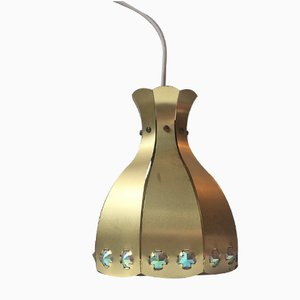 Vintage Danish Brass Pendant Lamp from Coronell Elektro, 1970s
