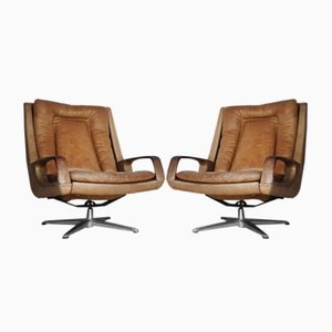 Swivel Leather Chairs by Carl Straub, 1950s, Set of 2