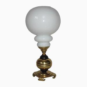 Lámpara de mesa de latón y vidrio, años 60