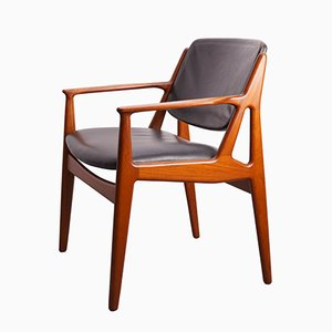 Mid-Century Teak & Leather Chair by Arne Vodder for Vamo Sondeborg