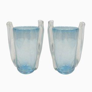 Jarrones de cristal de Murano de Seguso Vetri d'Arte, años 60. Juego de 2